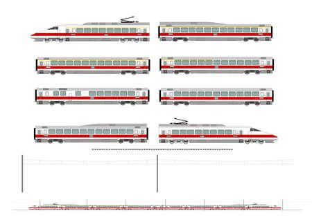 O kit contém: 1 ª e 2 ª unidade do motor classe, 1 º e 2 º carro treinador classe, uma 1st2nd carro treinador clas, um carro de jantar, linha férrea, catenária e um plano para construir. Ilustração