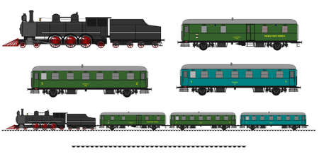 steam locomotive: A side illustration of vintage train. Kit contain: steam locomotive, post car, personal car, tracks