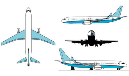 A illustration of airplanes silhouettes .