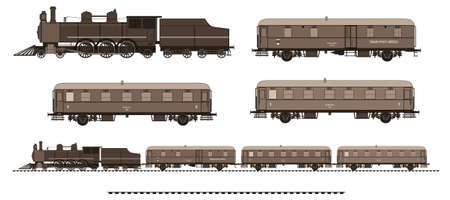 railway history: A side illustration of vintage train. Kit contain: steam locomotive, post car, personal car, tracks