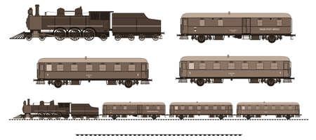 szynach: Ilustracja z boku zabytkowym pociągiem. Zestaw zawiera: lokomotywę parową, samochód pocztowy, samochód osobowy, utworów