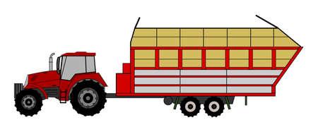 old tractor: Een kant afbeelding van tractor Stock Illustratie