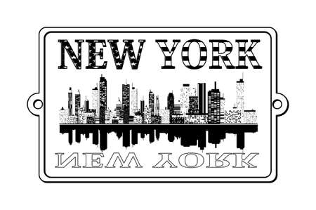 new york skyline: A illustration of New York label Illustration