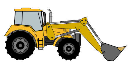 tractor warning: A side illustration of digger