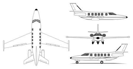 プライベート ジェット飛行機のイラスト