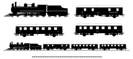 car tracks: A side illustration of vintage train. Kit contain: steam locomotive, post car, personal car, tracks