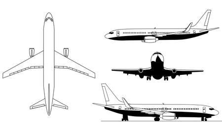 A ilustrações dos aviões silhuetas Ilustração
