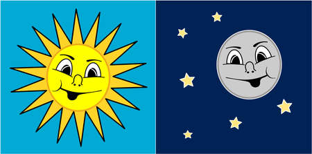 A illustration of Sun and Moon Vector