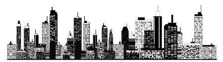 A black and white illustration of city skyline. Vector