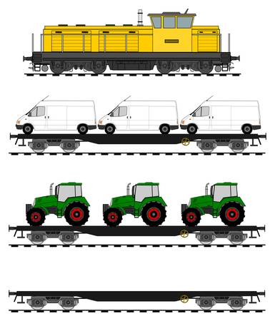Loaded flat cars train set. Vector