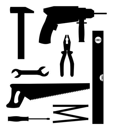 A set of home tools. Vector
