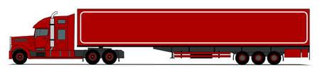 semi: A side illustration of american style truck Illustration