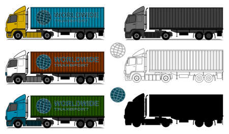 A side ilustrations of trucks with shipping containers. Illustration