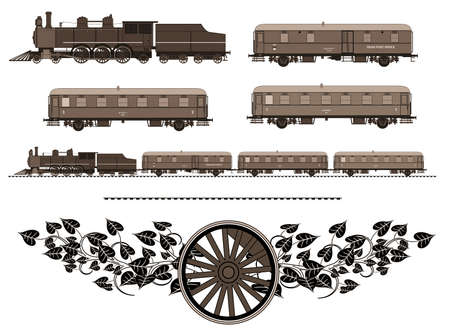 A side illustration of vintage train. Kit contain: steam locomotive, post car, personal car, tracks, logo