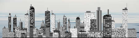 uptown: A panorama picture of city skyline Stock Photo