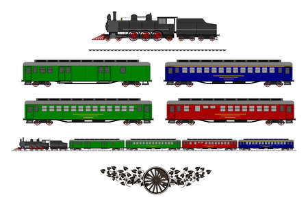 A side illustration of vintage train. Kit contain: steam locomotive, post car, personal car, dining car, retro logo, tracks