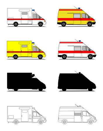 A illustrations set of ambulances