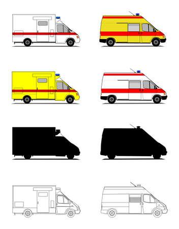 Ein Set Abbildungen von Krankenwagen