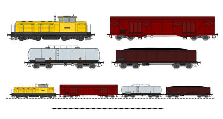 A side illustration of cargo train Vector