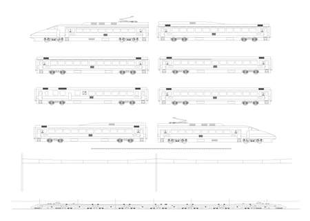Kit contains: 1st and 2nd class motor unit, 1st and 2nd class coach car, one 1st2nd clas coach car, one dining car, railroad track, overhead catenary and plan to build.