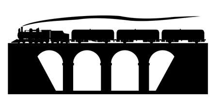 Old train on the stone bridge Vector