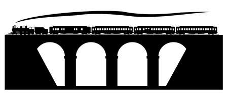 railway history: Old train on the stone bridge