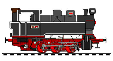 railway track: A side illustration of steam locomotive