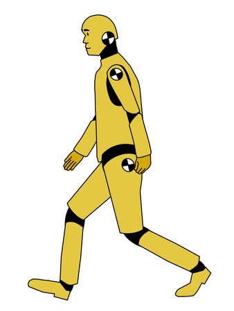 speed test: A iluustration of walking crash test dummy Illustration
