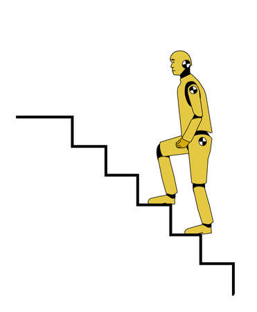 going up: Crash test dummy going up the stairs Illustration