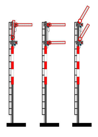rail route: Two arm old rail semaphores