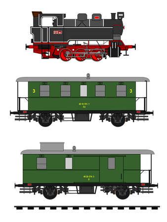 locomotora: Una ilustración lado del tren de época.