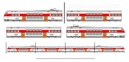 Kit contains: 1st and 2nd class motor unit, 2nd class coach car, , railroad track, overhead catenary and plan to build. Ilustracja
