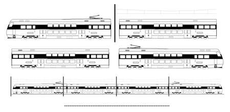 motor coach: Kit contains: 1st and 2nd class motor unit, 2nd class coach car, , railroad track, overhead catenary and plan to build. Illustration