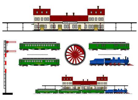 A set of illustration of vintage train station. Illustration