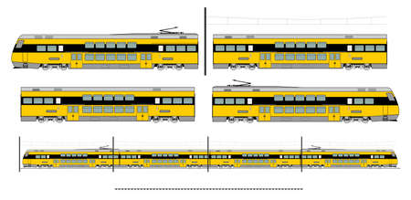 intercity: Kit contains: 1st and 2nd class motor unit, 2nd class coach car, , railroad track, overhead catenary and plan to build. Illustration