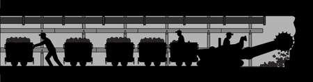 mine lamp: Working miners Illustration
