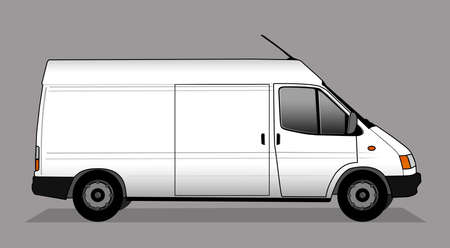 Illustration of white delivery car Stock Photo