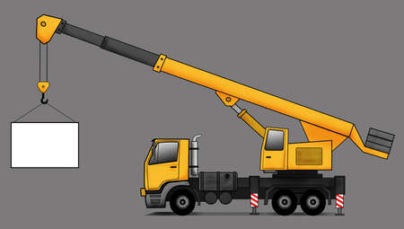 reach truck: Side illustration of crane truck Stock Photo