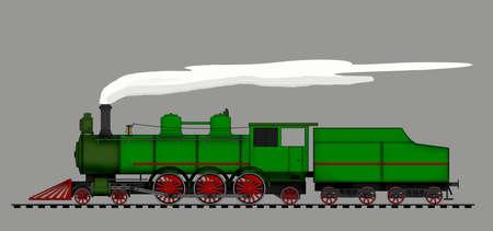 A side illustration of vintage steam lomocotive Imagens