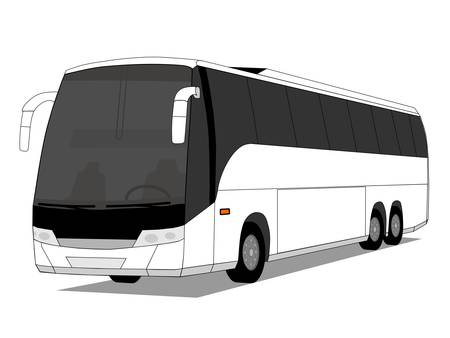 coach bus: A illustration of white coach bus