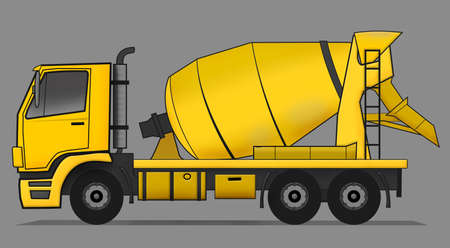 cement mixer: Side illustration of yellow cement mixer truck