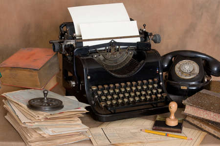 ancient telephone: Vintage office desk