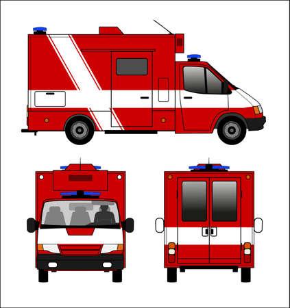 ambulance car: Small fire truck Illustration
