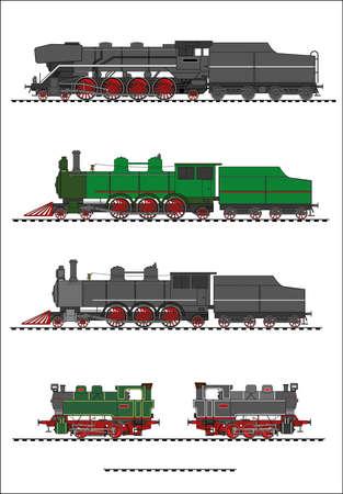 steam locomotive: Steam locomotive set Illustration