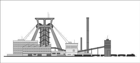 panoramatic: Minning complex with coal train