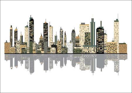 imagen panorámica del horizonte de la ciudad Ilustración de vector