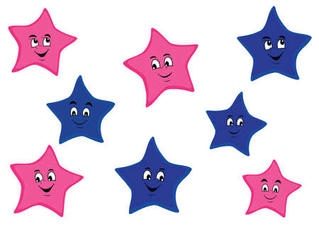Pink and blue cartoon stars