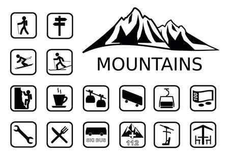 Mountais activites icons set Illustration