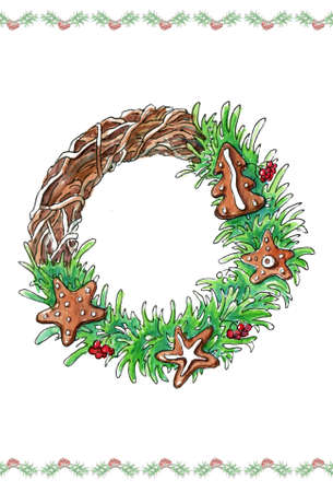 christmas cookie: New Year Card. Christmas wreath of fir and pine branches with gingerbread cookie