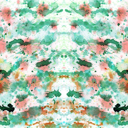 daubs: Abstract splashed and splattered splotches of colorful red, green, orange paint over white Stock Photo